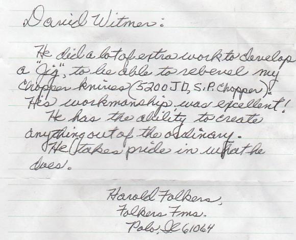 Testimonials Harold Folkers